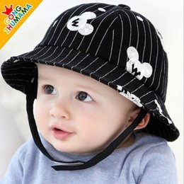 Wholesale Mickey Mouse children sun hats baby bucket hats infant Fisherman caps Black and white hats caps color