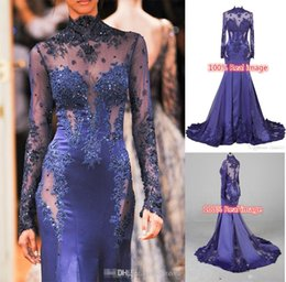 Wholesale Cheap Zuhair Murad High Neck Lace Formal Evening Dresses Long Sleeve See through Beads Appliques Prom Celebrity Gowns Custom Navy Blue