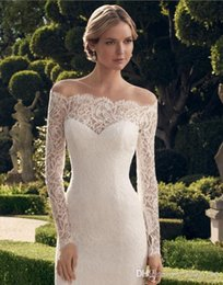 Wholesale 2015 Vintage Lace Wedding Gowns Knee Length Long Sleeve Scalloped Off Shoulder See Through Sheath Corset Wedding Gowns Short Wedding Dresses