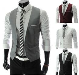 Wholesale 2014 Men Vests Outerwear Mens vest Mens Casual Suits Slim Fit Stylish Two Button Suit Blazer Jackets Coats Korean wedding Mens V neck vest