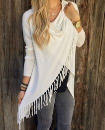 Wholesale 2015 Spring Antumn New Fashion Sexy Women Ladies Girl Tops Classic Long Sleeve O neck Slim Tassel Blouses