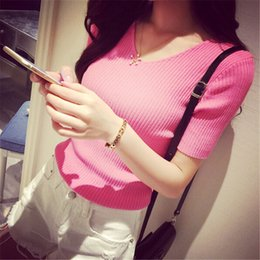 Wholesale High Quality Summer Spring Women Pullover Pink Brand Cotton Slim Sexy Knitted Sweater Jumpers Basic Shirt Short Sleeve Knitwear