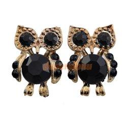 Wholesale Fashion Punk Black Jewelery Decorated Owl Lovely Eyes Feathers Stud Earring