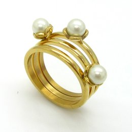 luxury 316l stainless steel gold plated triple layer pearls dinner ring for men and women sr00772 - Wedding Rings Online