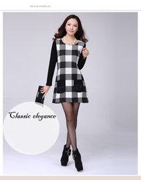 Wholesale 2015 O neck Splicing Dress Autumn Winter Plaid Dress Women Long Sleeve Party Dress Drop Shipping B21 CB035172