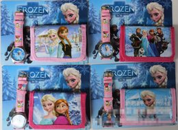Wholesale Hot sale new Frozen Anna Elsa Sets Watch And Wallet Purse Wrist Quartz Christmas Children Gift Boys Girls Cartoon Watches