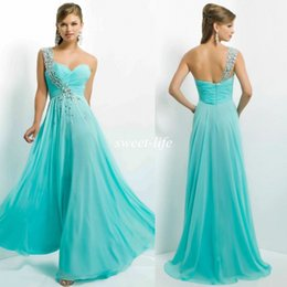 Wholesale Hot Sale Cheap Long Prom Dresses Sexy Sheer One Shoulder Beads Chiffon A Line Sleeveless Backless Evening Gowns Aqua Party Formal Dress