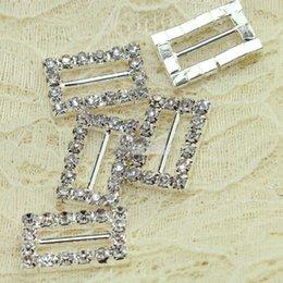 Wholesale 19 mm Rectangle Rhinestone Buckle Invitation Ribbon Slider for Ribbons Wedding Supply Gift Wrap Hairbow Center