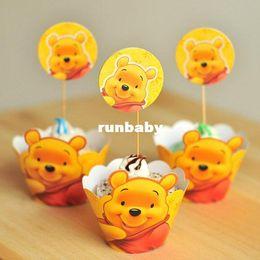 Gratis torta spedizione Winnie the Pooh cupcake toppers del wrapper raccoglie compleanno partito bambino doccia bomboniera forniture di decorazioni per bambini