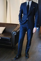 Wholesale Hot Selling Slim Groom Wedding Suits Cheap Tuxedos Groommen Suits Two Buttons Pieces Men Suits Groom Tuxedos Navy Blue Jacket Pants