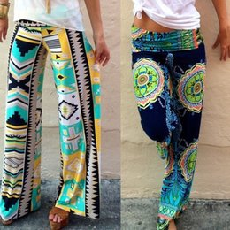 Wholesale Summer Ethnic Style Harem Palazzo Wide Leg Hip Hop Disco High Waist Floral Printed Straight Jeans Pants Trousers For Women MC