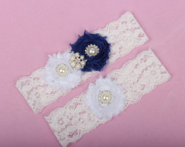 Wholesale Blue Wedding Lace Garter Bridal Ivory Cheap Fancy Wedding Garters with Pearls Crystal Set In Stock China Wedding Accessories
