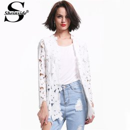 Wholesale Sheinside Brand Newest Novelty Autumn Regata Feminine Casual Designer Suit White Long Sleeve Crochet Embroidery Outerwear