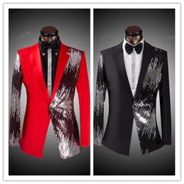 Wholesale New Red Black Blue Sequined Groom Tuxedos One Button Prom Man Suit Shawl Collar Fashion Jacket Three Piece Men Suits Jacket Pants Bow Tie