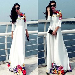 Wholesale 2015 Long Women Party Dresses White Floral Print Maxi Boho Beach Dress Plus Size Robe Casual Vestido Longo Ropa Mujer OXL15091402