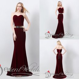 Wholesale Hot Sale In Stock US4 US14 Real Pictures Mermaid Sweetheart Velvet Burgundy Metal Belt hour Shipping Evening Party Prom Dresses