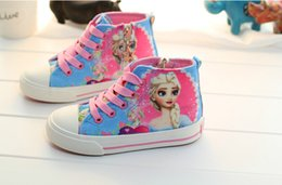 Wholesale 2015 frozen New Elsa princess D print canvas shoes girls lace up sneakers Cartoon canvas shoes