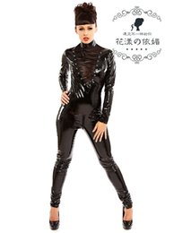 Wholesale plus size cosplay costumes for women balck catwoman sexy adult mermaid costume latex rubber suit body stocking p813