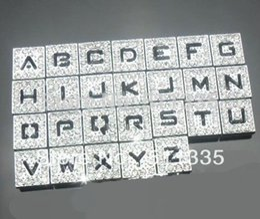 wholesale 8mm rhinestones hollow slide letter diy alphabet charm 260pcs lot a z hollow letters alphabet for sale