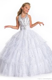 Wholesale Cheap White Pageant Dresses for Girls Crystals Organza Ball Gown Halter Floor Length Little Flowers Formal Backless Kids Prom Dresses