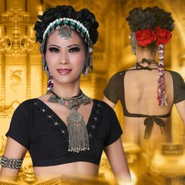 Wholesale 100 Cotton New Arrival ATS Tribal Belly Dance Clothes Crop Top V neck Backless Plus Size Women Gypsy Tops