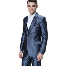 Discount Blue Silk Suit Men Tuxedos | 2017 Blue Silk Suit Men