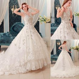 most popular luxury wedding dresses 2015 crystal sparkly real image cathedral train tulle see through bridal gowns custom designer affordable popular