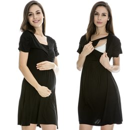 Wholesale V Neck Breastfeeding clothes Nursing Dress Summer fashion one piece dress Maternity Dress for pregnant woman