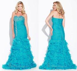 Wholesale New Charming Crystals Bodice Sweetheart Celebrity Formal Dresses Charming Ruffles Mermaid Aqua Prom Evening Dresses