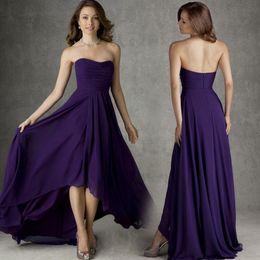 Wholesale 2017 Nuevo vestido de la dama de honor de la alta llegada nuevo barato Una línea de plisados regencia gasa de la dama de honor púrpura oscuro vestidos de moda vestido de baile de fin de curso