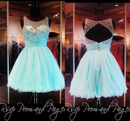 Wholesale Aqua Short Beaded Prom Dresses Vestidos De Fiesta A Line Sheer Neck Tulle Backless th Graduation Dresses Homecoming Dress MG06