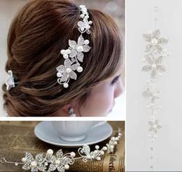 Wholesale 2015 Fashion Crystal Pearl Flower Party Wedding Hair Accessories Bridal Headband Tiara Headwear Silver Pearls Bridal Crown Headbands
