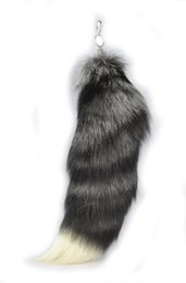 Wholesale Extra Large Silver Fox Tail Natural Color quot K94
