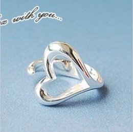 Wholesale Fashion accessories Wedding gift Korea style Silver plated OL style Hollow Love Heart open Ring RJ1276 dd