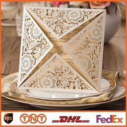 Wholesale Laser Cut Wedding Invitations Gold Blank Inner Sheet Wedding Invitation Card Flowers Hollow Wedding Cards HQ1134