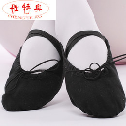 Sapatas macias da dança do ballet da lona respirável confortável das mulheres apropriadas para o adulto e as crianças Menina Size22 ~ 42 16 ~ 26cm CXTY-005