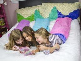 Wholesale New Cartoon Design Children Kids Mermaid Tail Blanket Fleece Baby Blanket Dedding Sleeping Bag Shark Tail Sleepwear
