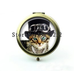 Wholesale MM Steampunk Cat Pocket Mirror Turquoise Cat Photo Mirror Compact Mirror Illustration Image Gift under Accessories Party Favo