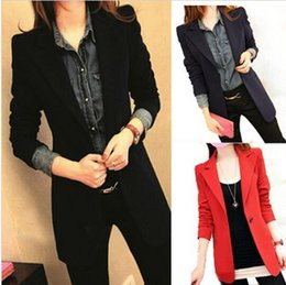 Wholesale 2016 New Slim Women Blazer Suit Jacket Casual Medium Long Woman Coat Spring Autumn Plus Size Blazers v213