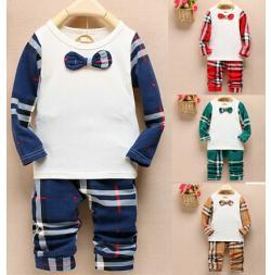 Wholesale Retail set Boys Cool plaid clothing set Baby handsome bow tie shirt pants set Cotton shirts pants suits Kids tracksuits set
