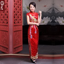 Wholesale Luxury and Good Quality new Red Sequins Bride Cheongsam Improved Wedding Dress Long Style Short Sleeve High Slit Cheongsam Dress Sexy