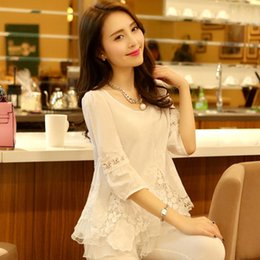Wholesale Women Blouses Lace Long Sleeve Fashion Sweet Hollow Out Lady Shirt Casual Slim Female Shirt