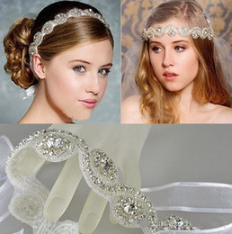 Wholesale 2015 Charming Bridal Tiaras Bohemia Hair Accessories White Crystals Headband Wedding Accessory Girls Party Headwear Bride Hair Ribbon