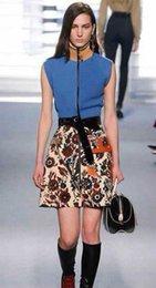 Wholesale Brand Luxury Women Knitted Top And Fashion Print Mini Skirt Women Set