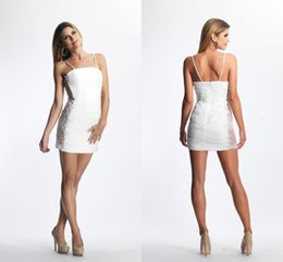 Wholesale Sheath Corset Ruched Beaded White Homecoming Dresses Sleeveless Mini White Beaded Satin Short Pageant Prom Gowns Cocktail Dresses