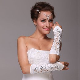 Wholesale High Quality Ivory White Satin Embroidery Rhinestone Bridal Gloves Flower Elbow Length Fingerless custom made Cheap Wedding Accessories