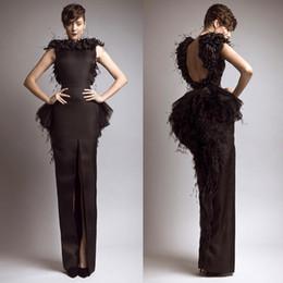 Wholesale Krikor Jabotian Vintage Formal Evening Dresses Black Satin Sheath Feather Backless Front Split Cap Sleeves Celebrity Gowns Prom Dresses