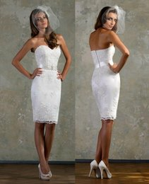 Wholesale 2015 Simple Sheath Short Wedding Dress Sweetheart Backless Beaded Sashes Knee Length Lace Appliques Beach Bridal Gowns Cocktail
