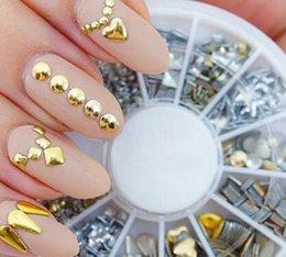 Wholesale Gold Silver Metal Nail Art Decor Rhinestones Tips Metallic Studs tools sticker NO199