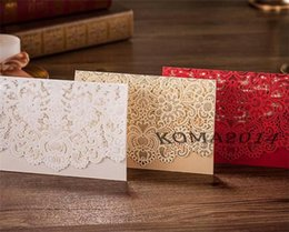 Wholesale 3 colors Free Laser Lace flora Wedding Invitations Cards New Arrival Wedding Invitation Favors Free Personalized Printable Cards